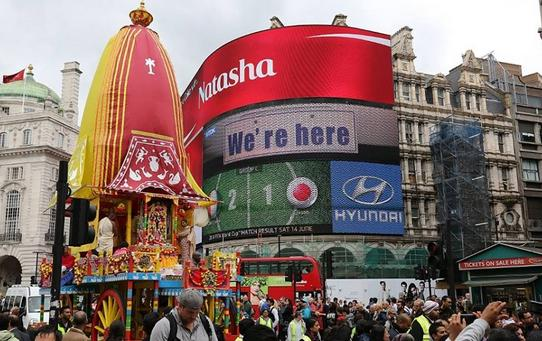 London's Most Famous Landmarks Awash With Sound an Color for the 46th Ratha Yatra Festival thumbnail