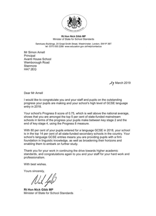 Avanti Schools Trust: We were delighted to receive this letter...