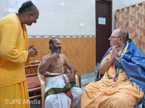 Sri Venkata Narayana Acharya, the head priest of Tirupathi Balaji, meets with HH Jayapataka Swami